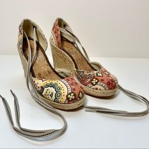 Lucky Brand Paisley Lace Up Wedge Espadrilles